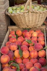 蒙帕萨罗一给水果摊卖的桃子和青梅