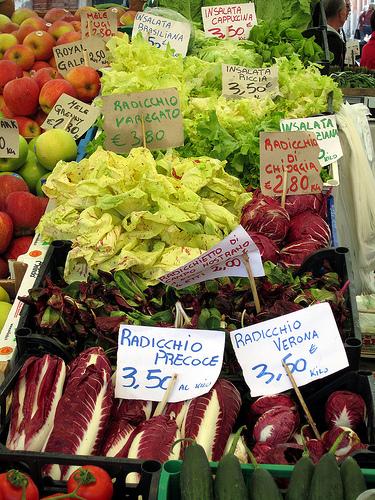 里亚尔托(Rialto)市场上不同品种的菊苣(radicchio),Michael Horne拍摄