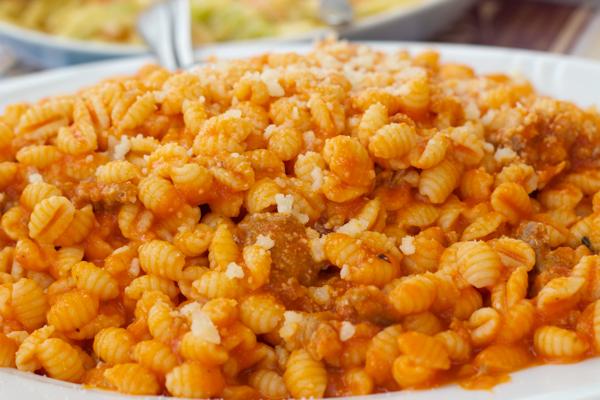 Malloreddos / Gnocchetti sardi / Malloreddu / Maccaronesciados / Ciciones alla sassarese (小的藏红花味gnocchi,用香肠酱拌匀