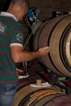 米歇尔将一些AMARONE轻轻倒出品尝,注意背景中的氮气罐。