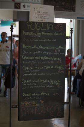 EATALY展区中阿普利亚餐厅的菜单