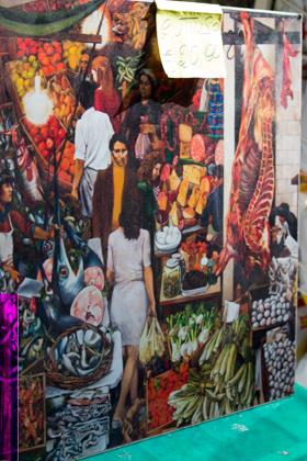 一幅PALERMITANO复制品,这是RENATO GUTTUSO画的 LA VUCCIRIA市场