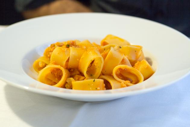 PACCHERI CON RAGÙ DI LUCCIO E PESCE PERSICO(狗鱼和鲈鱼肉酱拌意大利粗管面)